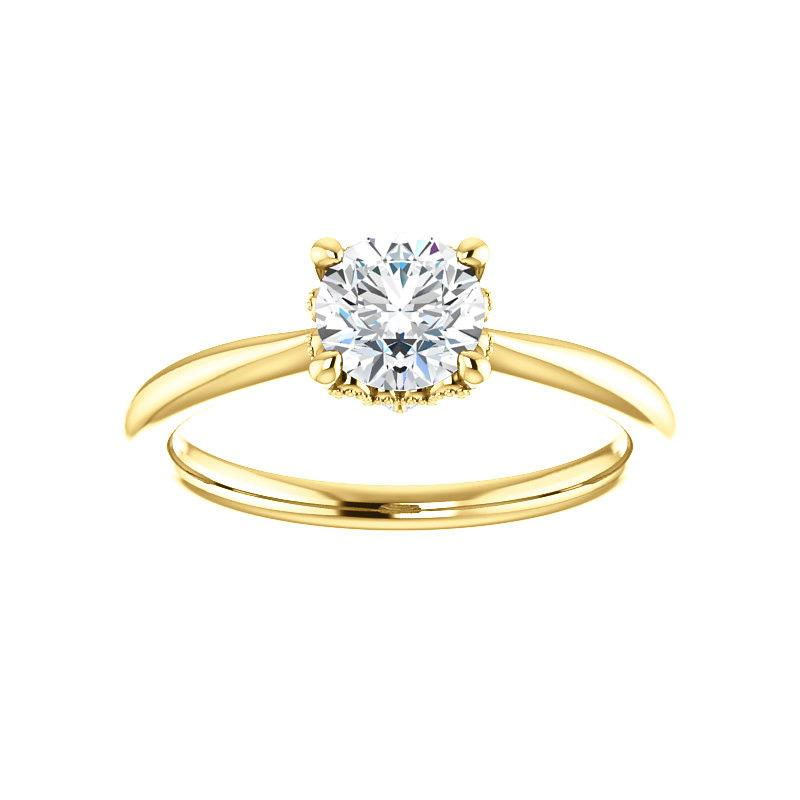 The Kelsea Round Moissanite Engagement Ring Rope Solitaire Setting Yellow Gold