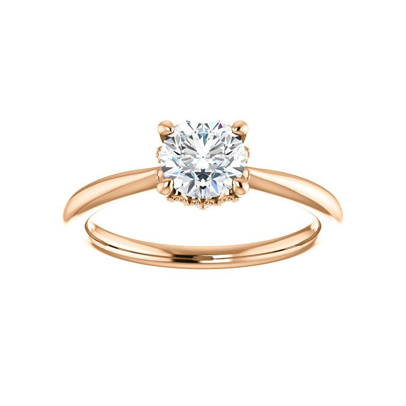 The Kelsea Round Moissanite Engagement Ring Rope Solitaire Setting Rose Gold