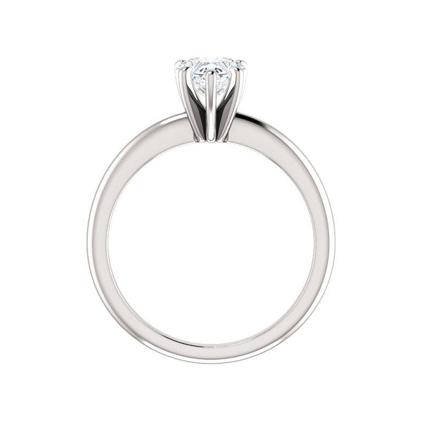 The Six Prongs Heart Moissanite Engagement Ring Rope Solitaire Setting White Gold Side Profile