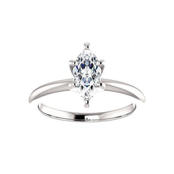The Six Prongs Marquise Moissanite Engagement Ring Rope Solitaire Setting White Gold