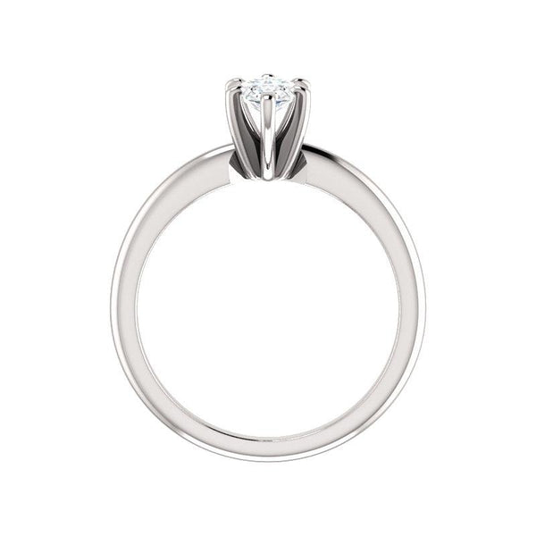 The Six Prongs Marquise Moissanite Engagement Ring Rope Solitaire Setting White Gold Side Profile