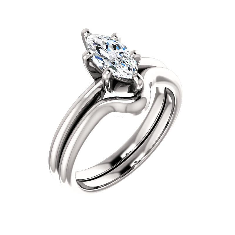 The Six Prongs Marquise Moissanite Engagement Ring Rope Solitaire Setting White Gold With Matching Band