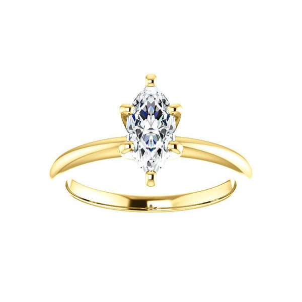 The Six Prongs Marquise Moissanite Engagement Ring Rope Solitaire Setting Yellow Gold