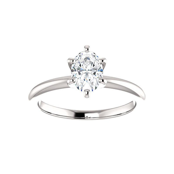 The Six Prongs Oval Moissanite Engagement Ring Rope Solitaire Setting White Gold