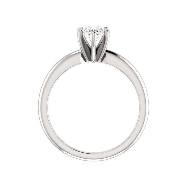 The Six Prongs Oval Moissanite Engagement Ring Rope Solitaire Setting White Gold Side Profile