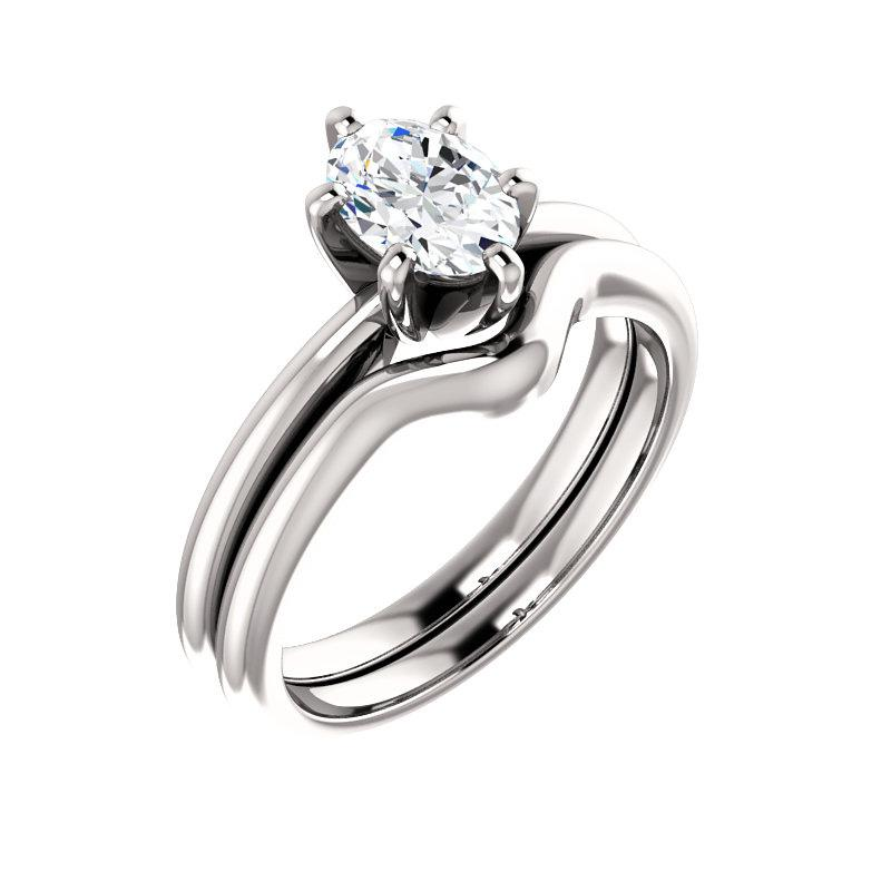 The Six Prongs Oval Moissanite Engagement Ring Rope Solitaire Setting White Gold With Matching Band