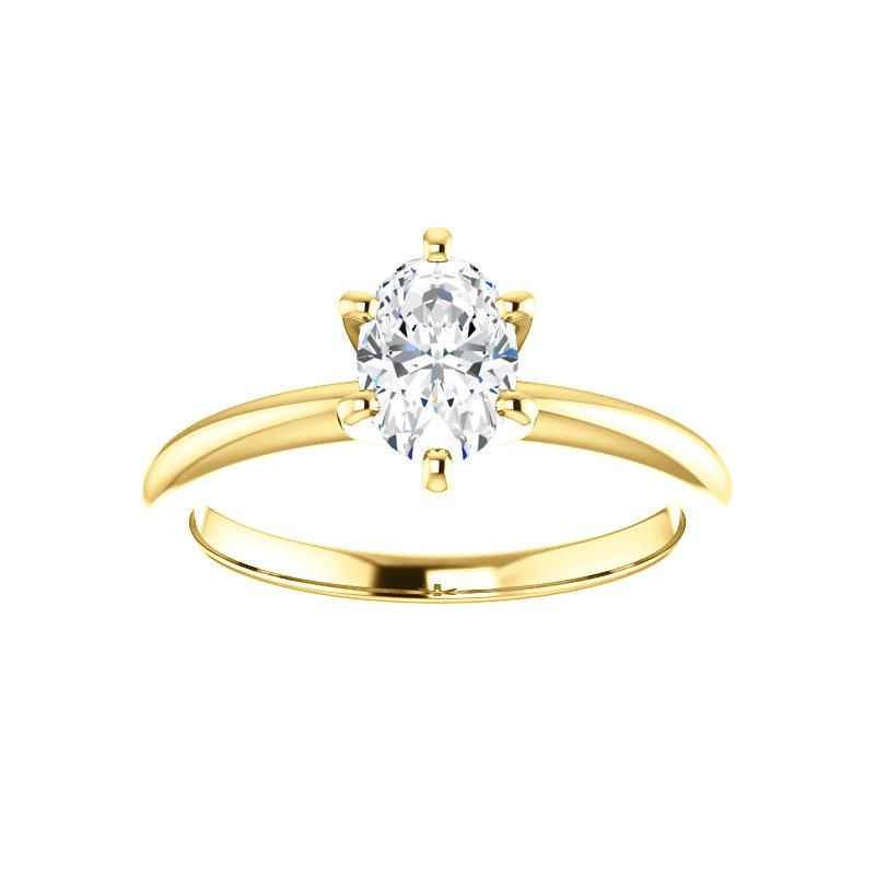 The Six Prongs Oval Moissanite Engagement Ring Rope Solitaire Setting Yellow Gold