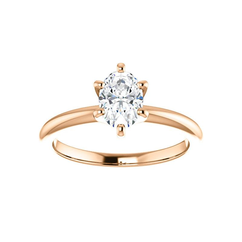 The Six Prongs Oval Moissanite Engagement Ring Rope Solitaire Setting Rose Gold