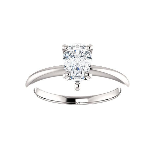 The Six Prongs Pear Moissanite Engagement Ring Rope Solitaire Setting White Gold