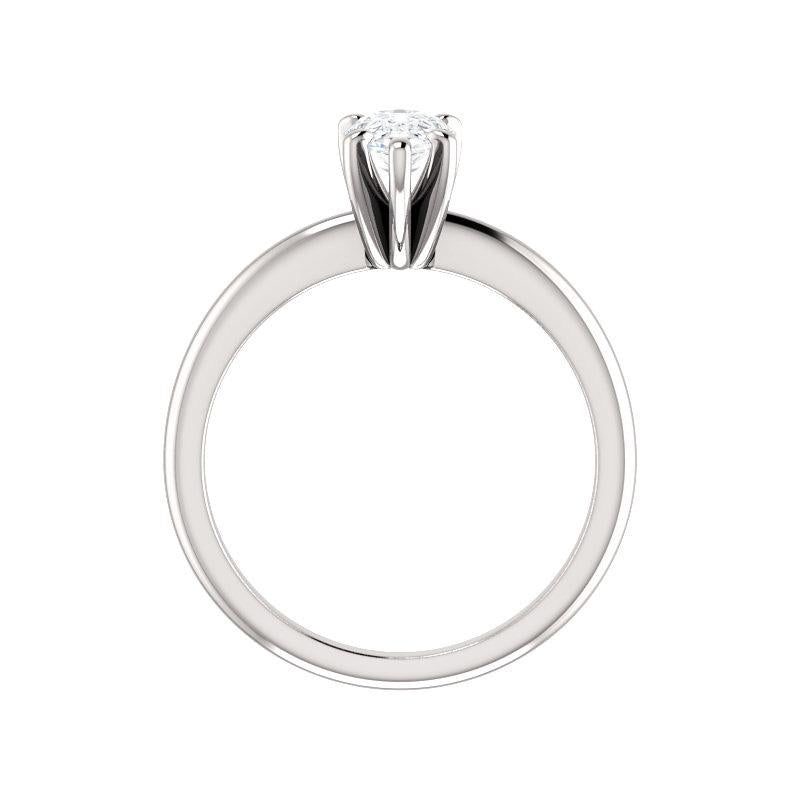 The Six Prongs Pear Moissanite Engagement Ring Rope Solitaire Setting White Gold Side Profile