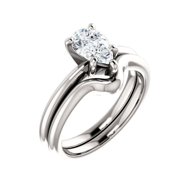 The Six Prongs Pear Moissanite Engagement Ring Rope Solitaire Setting White Gold With Matching Band