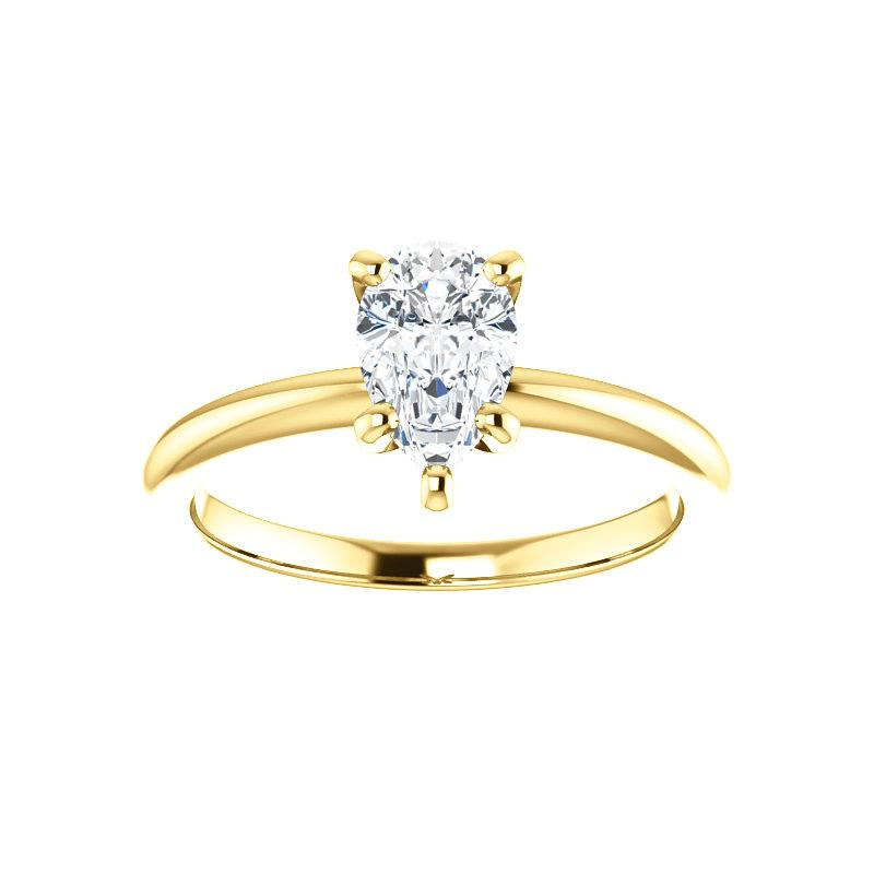 The Six Prongs Pear Moissanite Engagement Ring Rope Solitaire Setting Yellow Gold
