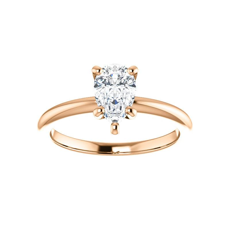 The Six Prongs Pear Moissanite Engagement Ring Rope Solitaire Setting Rose Gold