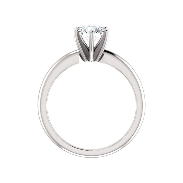 The Six Prongs Round Moissanite Engagement Ring Rope Solitaire Setting White Gold Side Profile