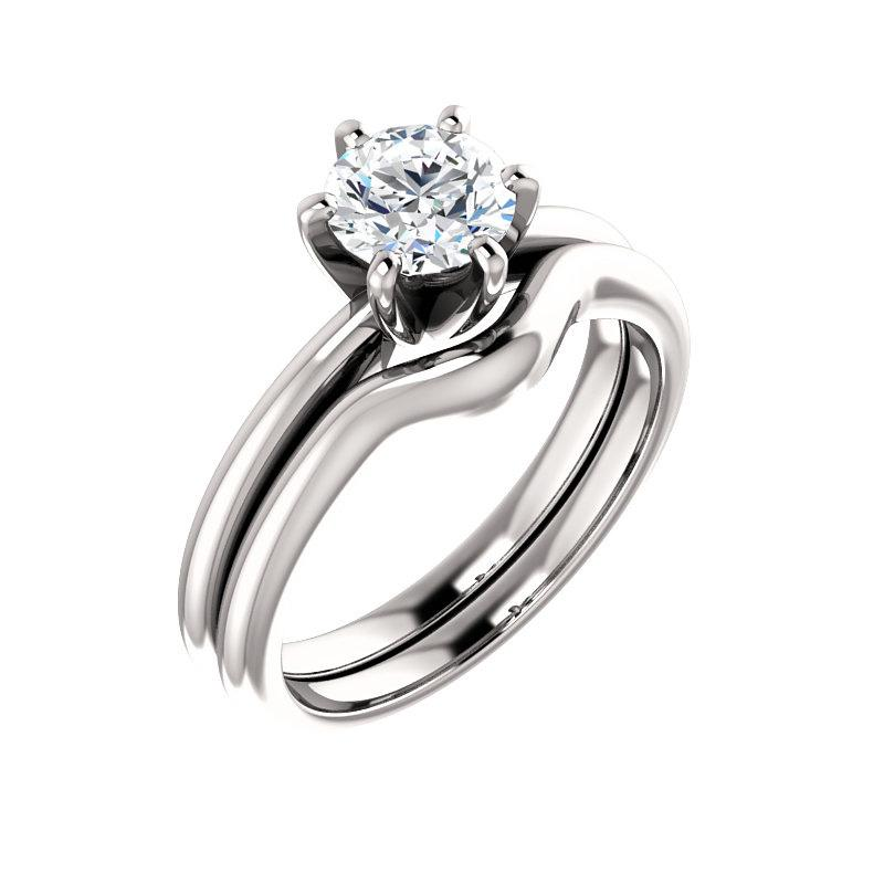 The Six Prongs Round Moissanite Engagement Ring Rope Solitaire Setting White Gold With Matching Band