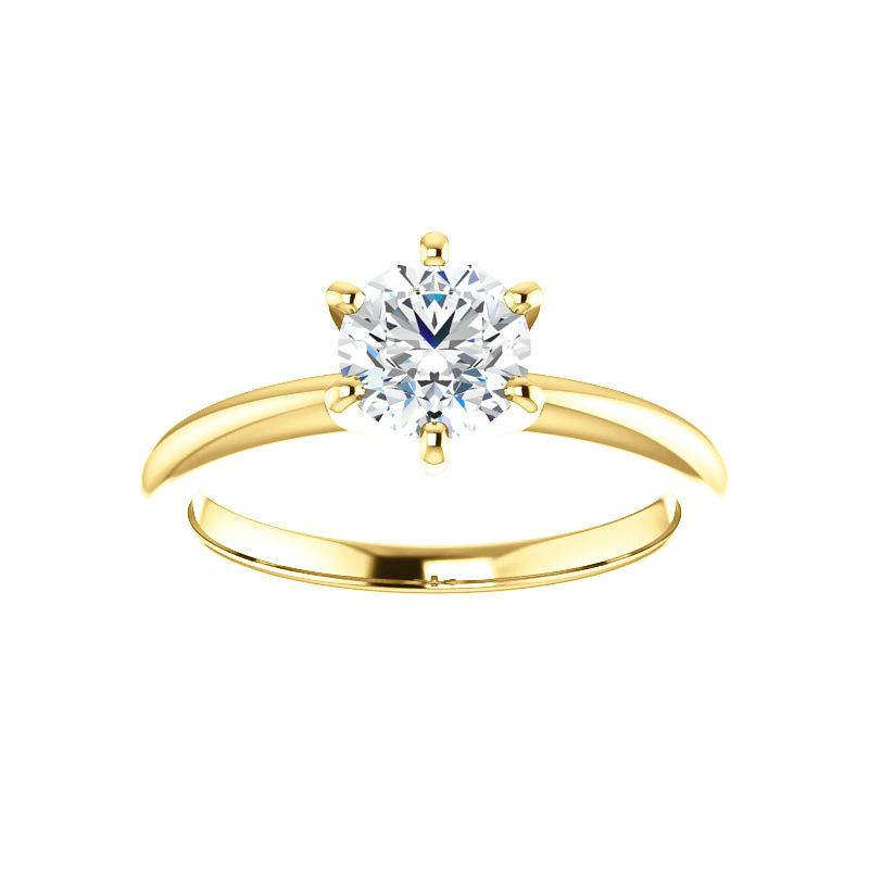 The Six Prongs Round Moissanite Engagement Ring Rope Solitaire Setting Yellow Gold