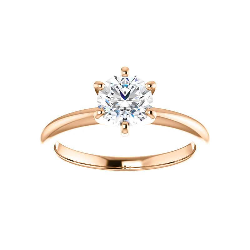 The Six Prongs Round Moissanite Engagement Ring Rope Solitaire Setting Rose Gold