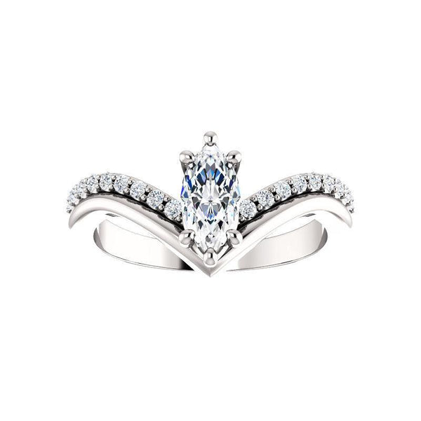 The Nelda Moissanite marquise moissanite engagement ring solitaire setting white gold