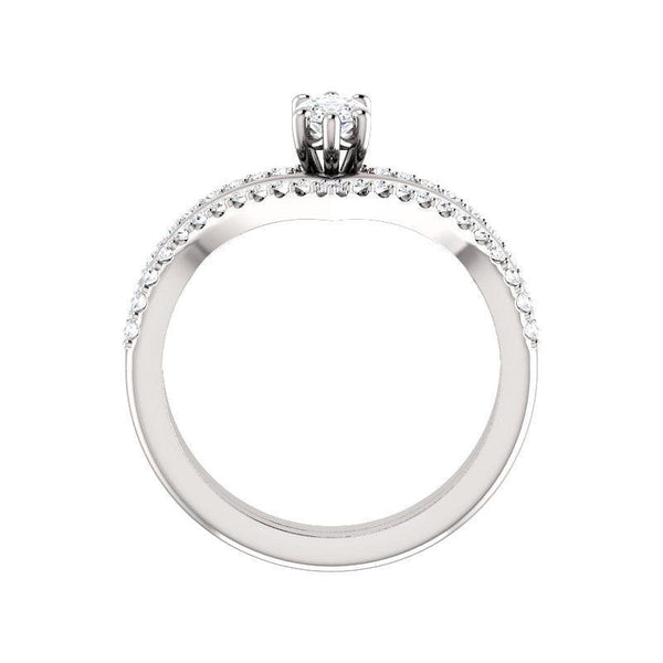 The Nelda Moissanite marquise moissanite engagement ring solitaire setting white gold side profile
