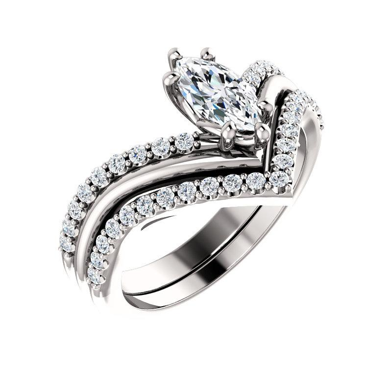 The Nelda Moissanite marquise moissanite engagement ring solitaire setting white gold with matching band