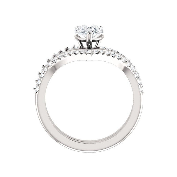 The Nelda Moissanite pear moissanite engagement ring solitaire setting white gold side profile