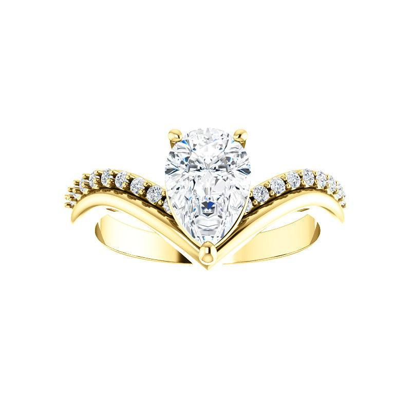 The Nelda Moissanite pear moissanite engagement ring solitaire setting yellow gold