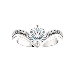 The Nelda Moissanite round moissanite engagement ring solitaire setting white gold