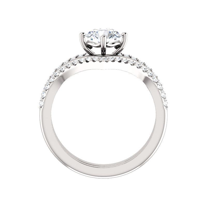 The Nelda Moissanite round moissanite engagement ring solitaire setting white gold side profile