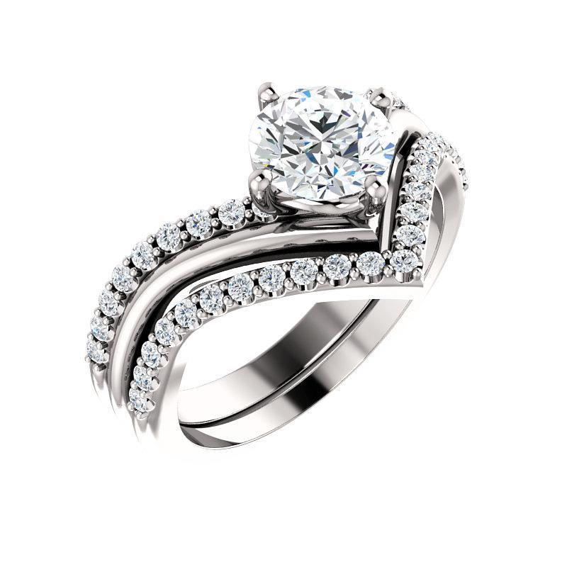 The Nelda Moissanite round moissanite engagement ring solitaire setting white gold with matching band