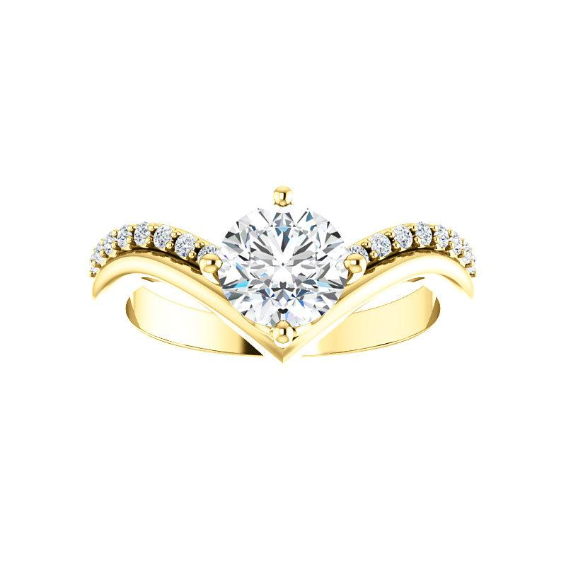 The Nelda Moissanite round moissanite engagement ring solitaire setting yellow gold