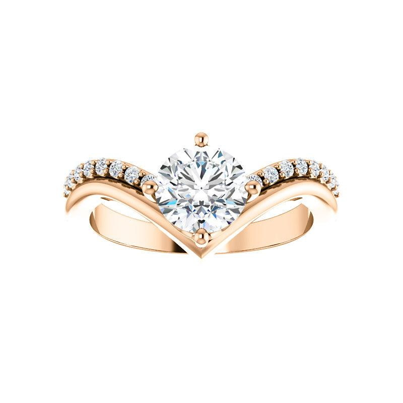The Nelda Moissanite round moissanite engagement ring solitaire setting rose gold