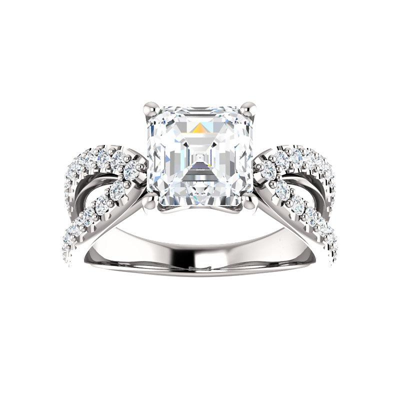 The Tia Moissanite asscher moissanite engagement ring solitaire setting white gold