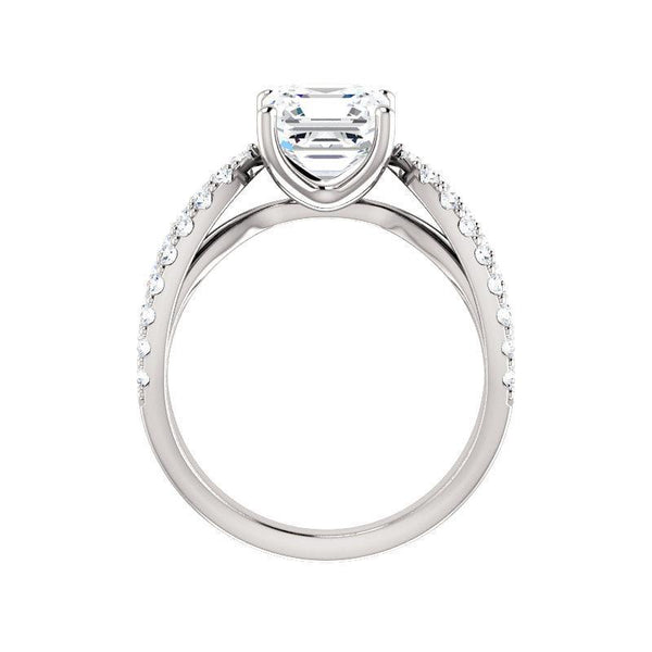 The Tia Moissanite asscher moissanite engagement ring solitaire setting white gold side profile