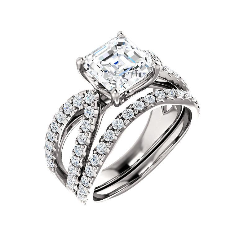 The Tia Moissanite asscher moissanite engagement ring solitaire setting white gold with matching band