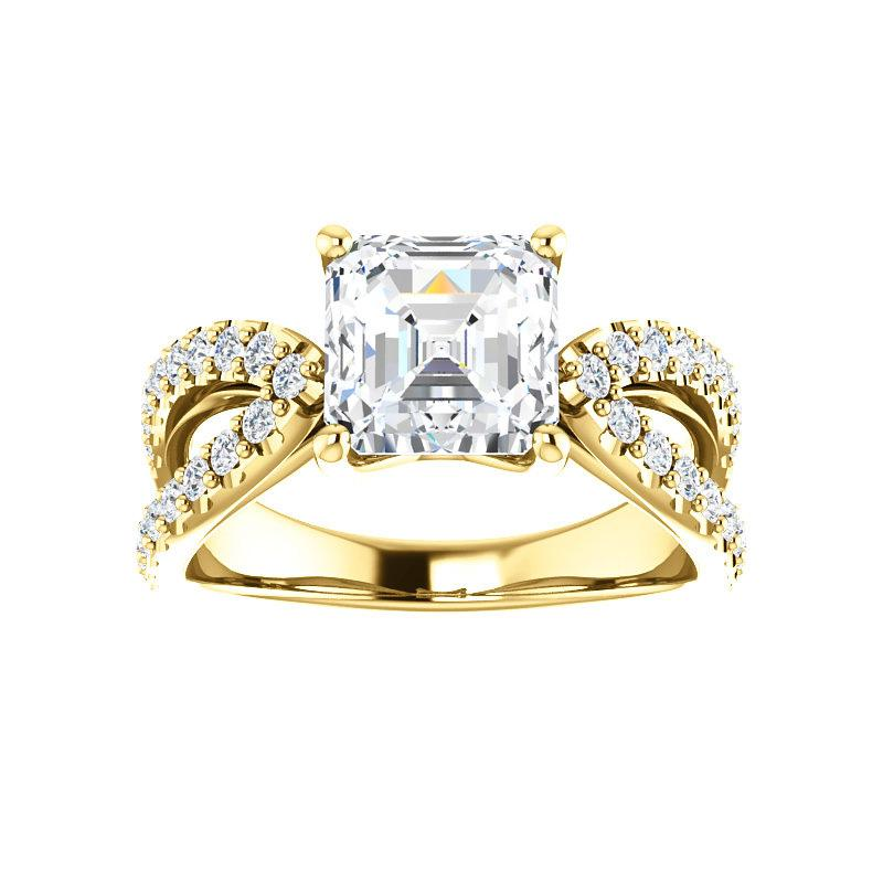 The Tia Moissanite asscher moissanite engagement ring solitaire setting yellow gold