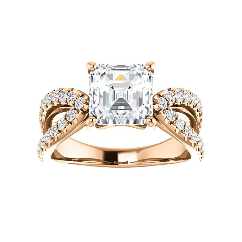 The Tia Moissanite asscher moissanite engagement ring solitaire setting rose gold
