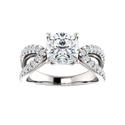 The Tia Moissanite cushion moissanite engagement ring solitaire setting white gold