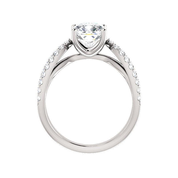The Tia Moissanite cushion moissanite engagement ring solitaire setting white gold side profile