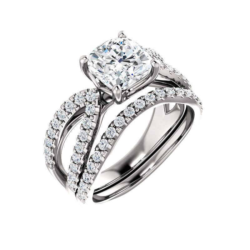 The Tia Moissanite cushion moissanite engagement ring solitaire setting white gold with matching band
