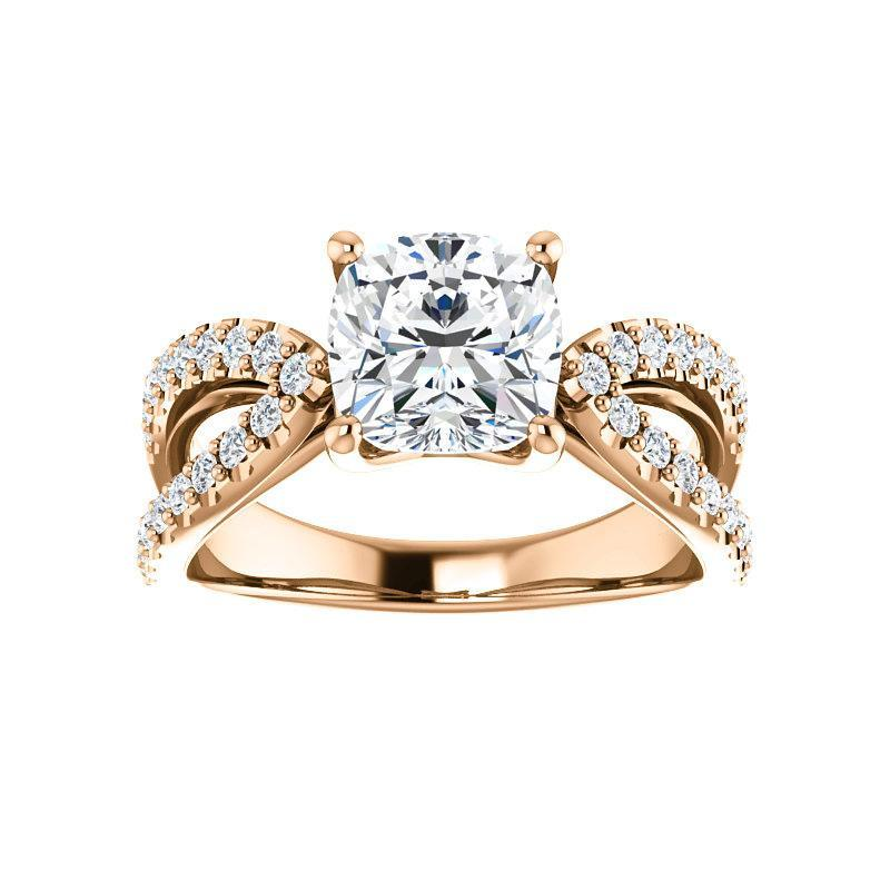 The Tia Moissanite cushion moissanite engagement ring solitaire setting rose gold
