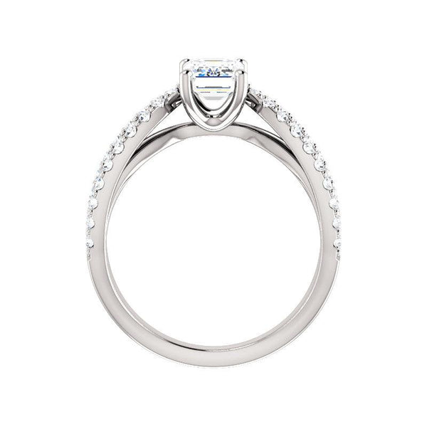The Tia Moissanite emerald moissanite engagement ring solitaire setting white gold side profile