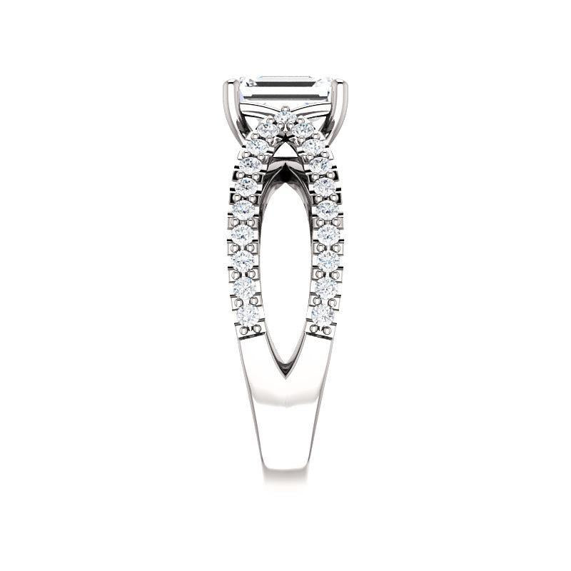 The Tia Moissanite emerald moissanite engagement ring solitaire setting white gold band profile