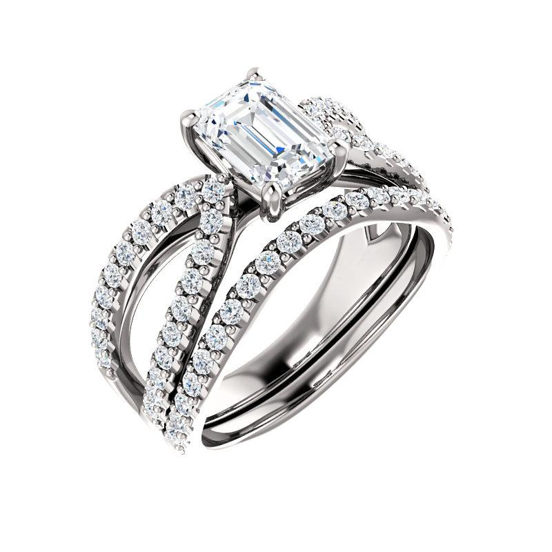 The Tia Moissanite emerald moissanite engagement ring solitaire setting white gold with matching band
