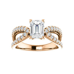 The Tia Moissanite emerald moissanite engagement ring solitaire setting rose gold