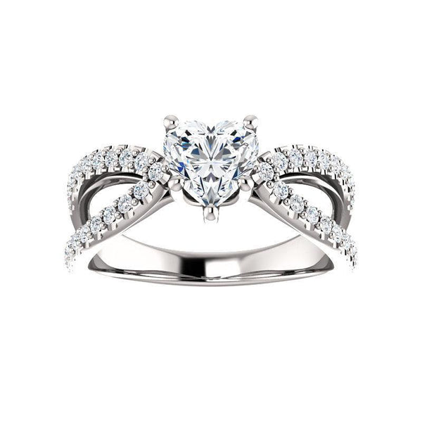 The Tia Moissanite heart moissanite engagement ring solitaire setting white gold