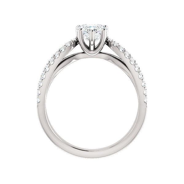 The Tia Moissanite heart moissanite engagement ring solitaire setting white gold side profile