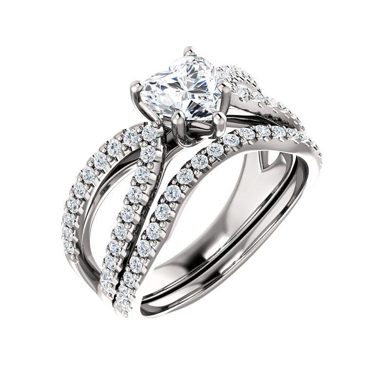 The Tia Moissanite heart moissanite engagement ring solitaire setting white gold with matching band