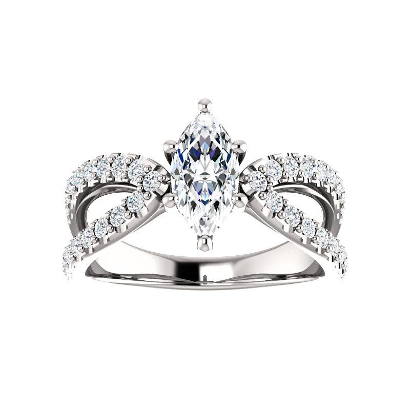 The Tia Moissanite marquise moissanite engagement ring solitaire setting white gold