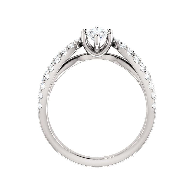 The Tia Moissanite marquise moissanite engagement ring solitaire setting white gold side profile