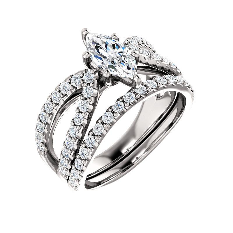 The Tia Moissanite marquise moissanite engagement ring solitaire setting white gold with matching band